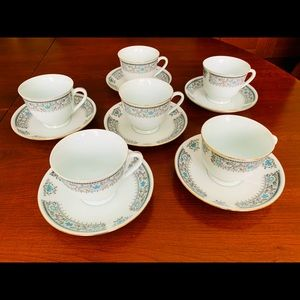Set of 6 Porcelain Coffee Tea Cups & saucers 12 pc